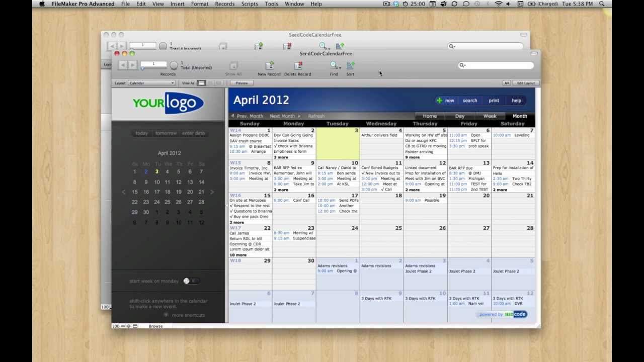 Free Filemaker 12 Calendar Template intended for Filemaker Calendar Template