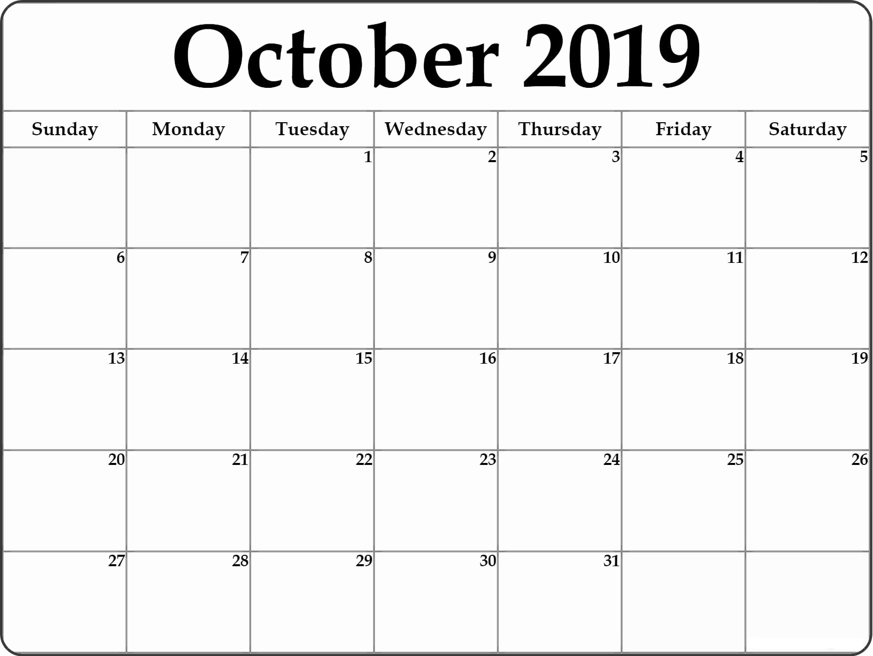 Free Fillable Calendar For October 2019 Printable Editable in Fillable Printable Calendar