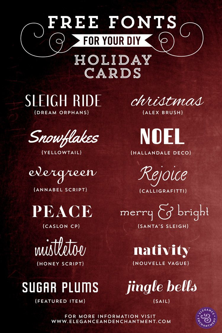 Free Fonts For Diy Holiday Cards | Gift | Holiday Fonts in Elegance And Enchantment