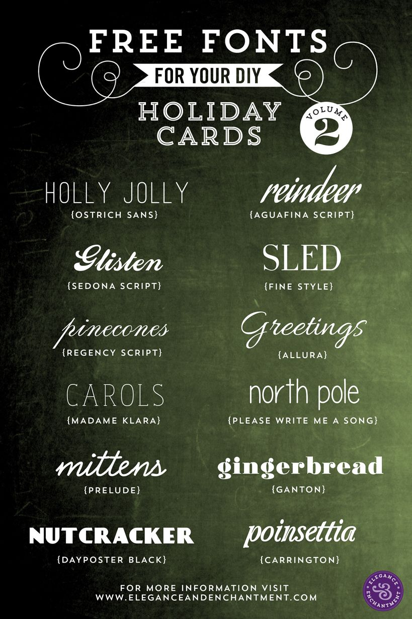 Free Fonts For Diy Holiday Cards  Volume 2 | Elegance with regard to Elegance And Enchantment