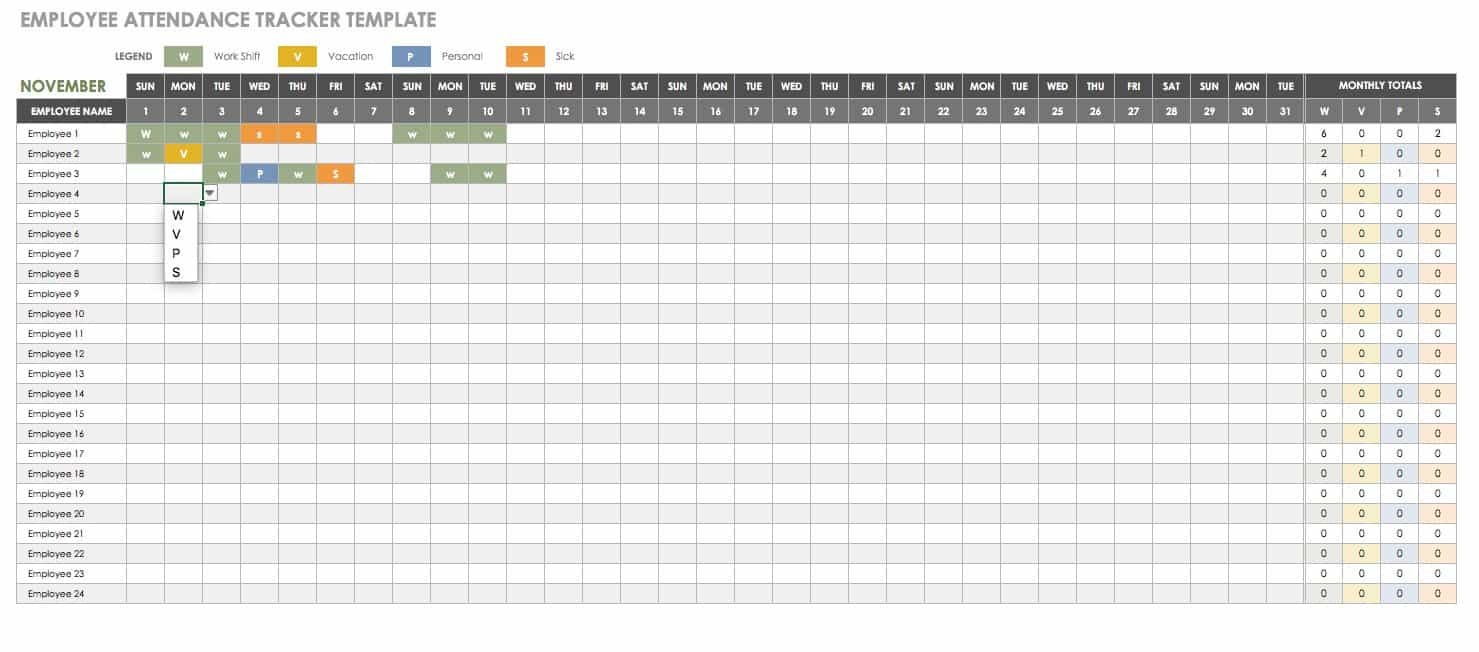 Free Human Resources Templates In Excel | Smartsheet intended for Employee Vacation Tracking Calendar