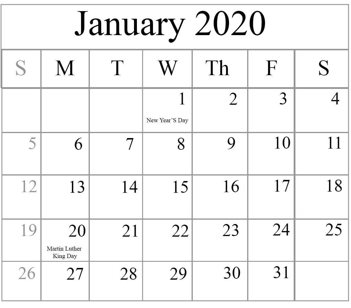 Free January 2020 Printable Calendar In Pdf, Excel & Word for Word Calendar Template 2020