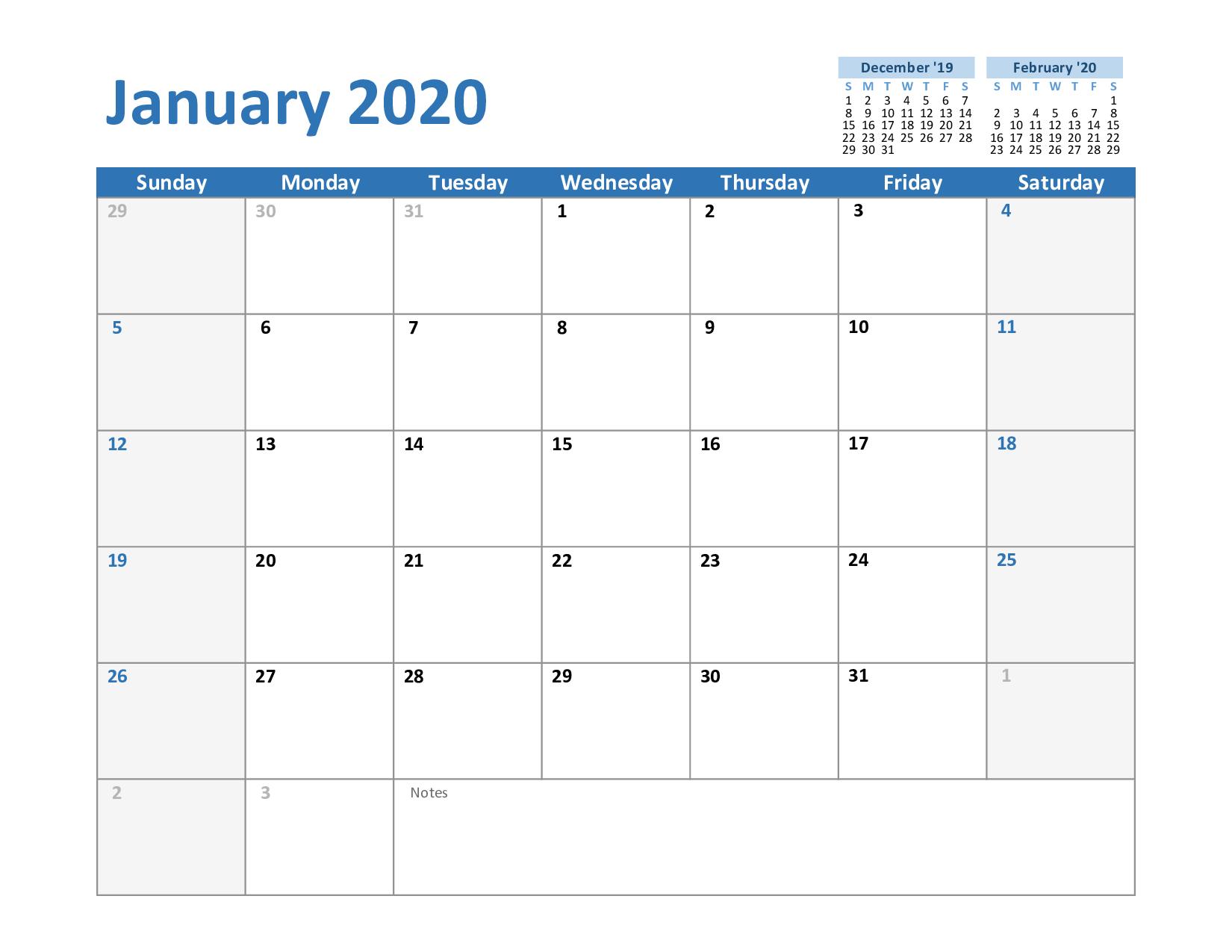 Free January Calendar 2020 Printable Template Blank In Pdf inside 2020 Employee Attendance Calendar Free