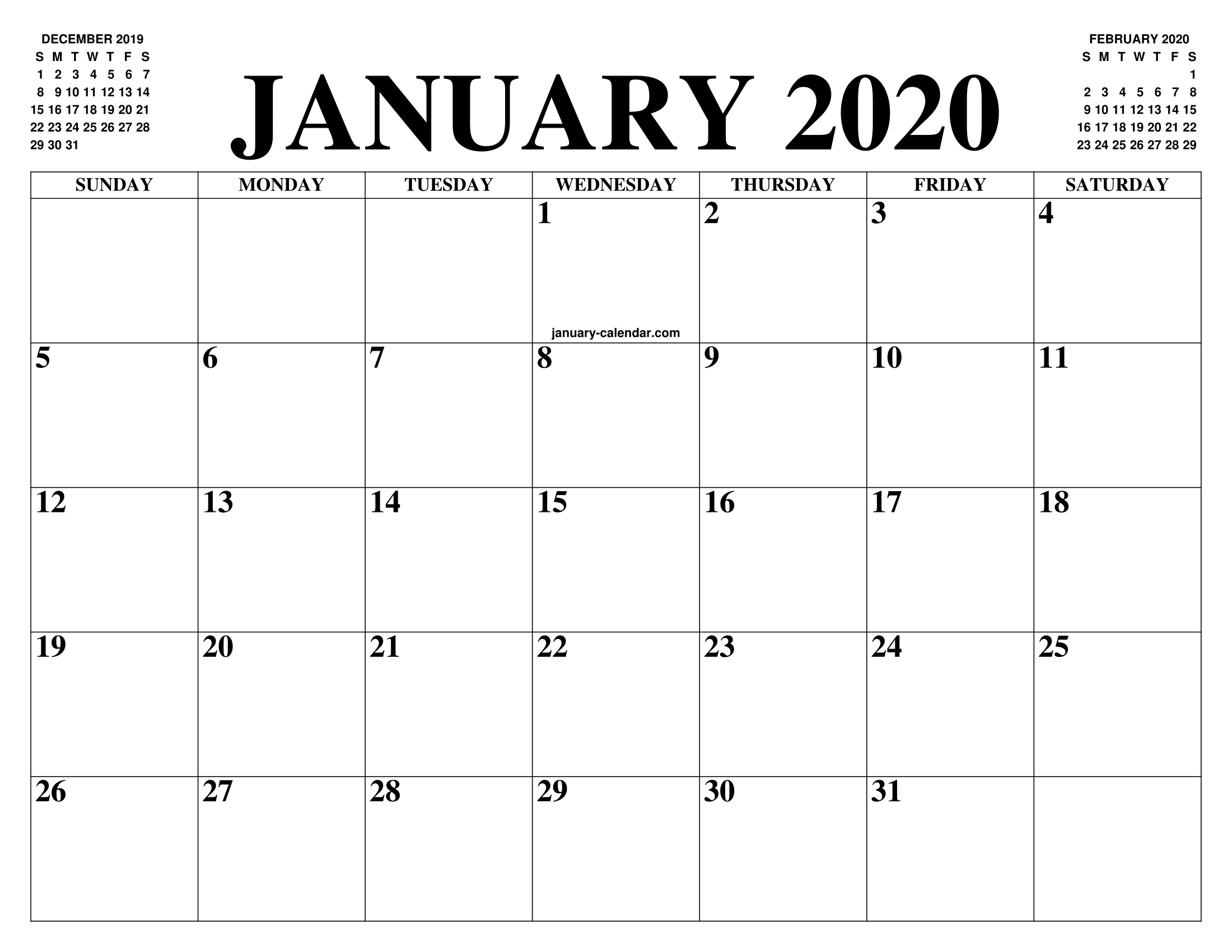Free January Calendar 2020 Printable Template Blank In Pdf intended for Google Calendar Template 2020