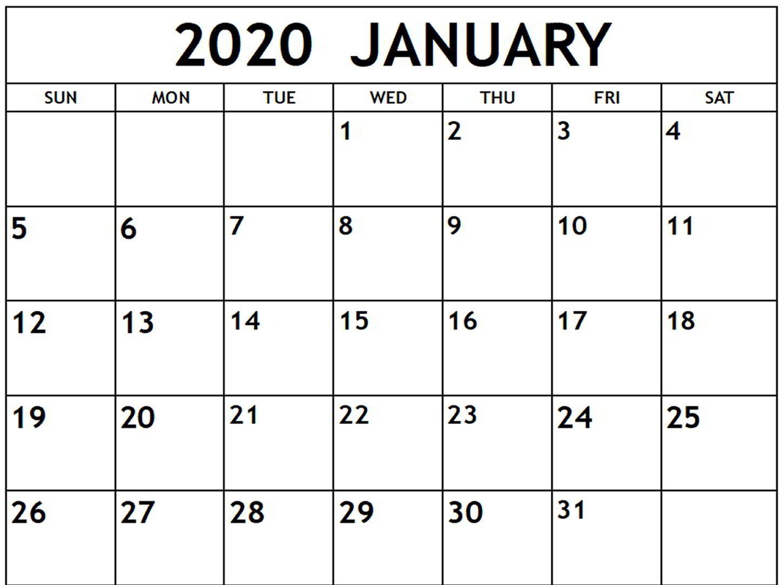 Free January Calendar 2020 Printable Template Blank In Pdf pertaining to Blank January Calendar 2020