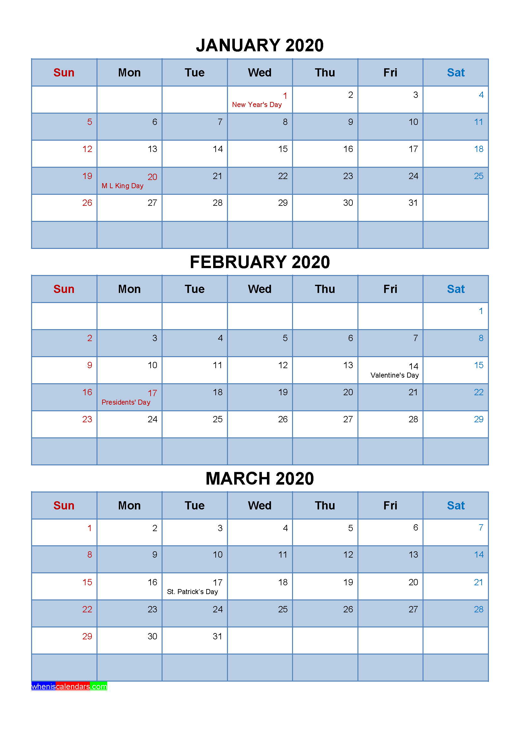 Free January February March 2020 Printable Calendar Template throughout 2020 Quarterly Calendar Template Excel
