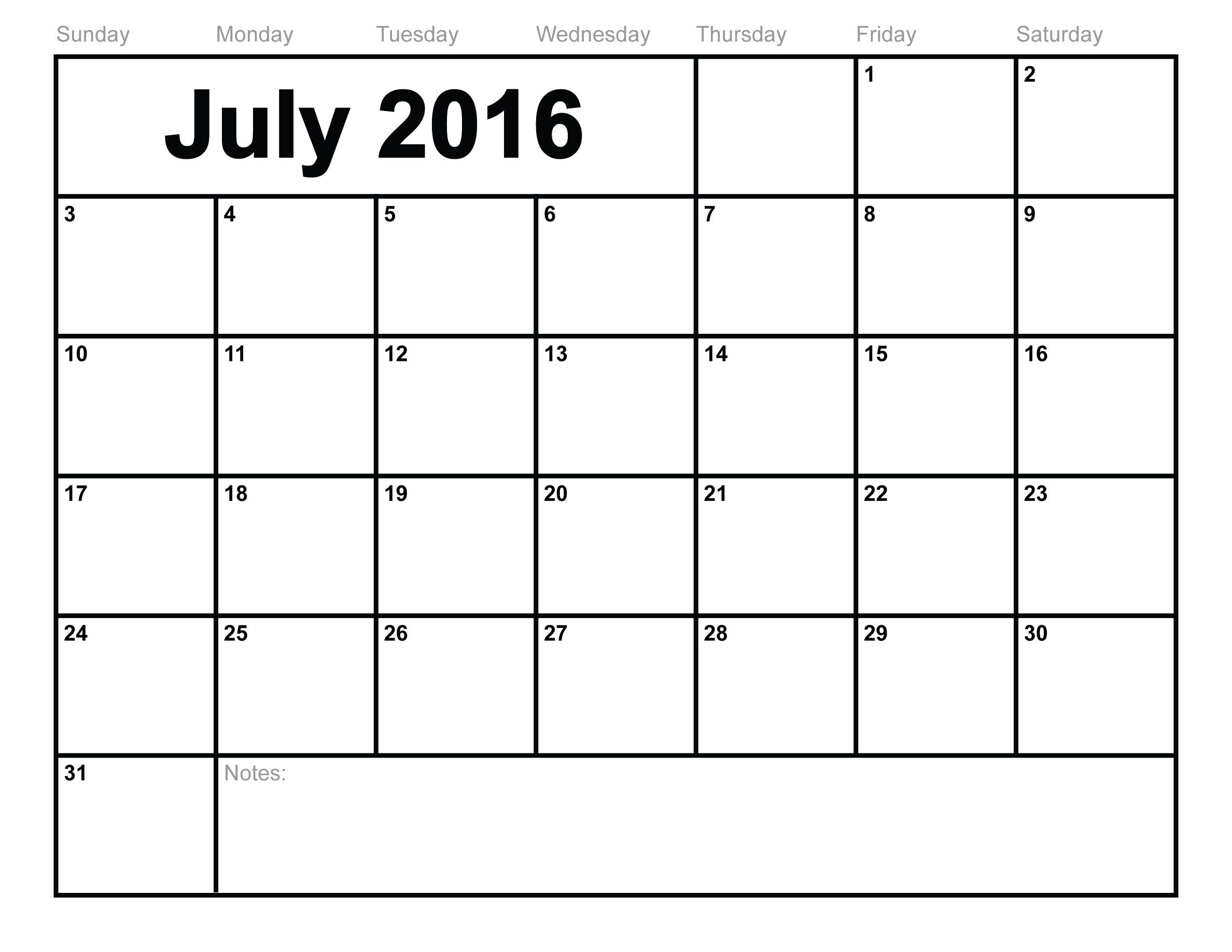 Free July 2016 Printable Calendar | Printable Calendar July pertaining to July 2016 Calendar With Holidays