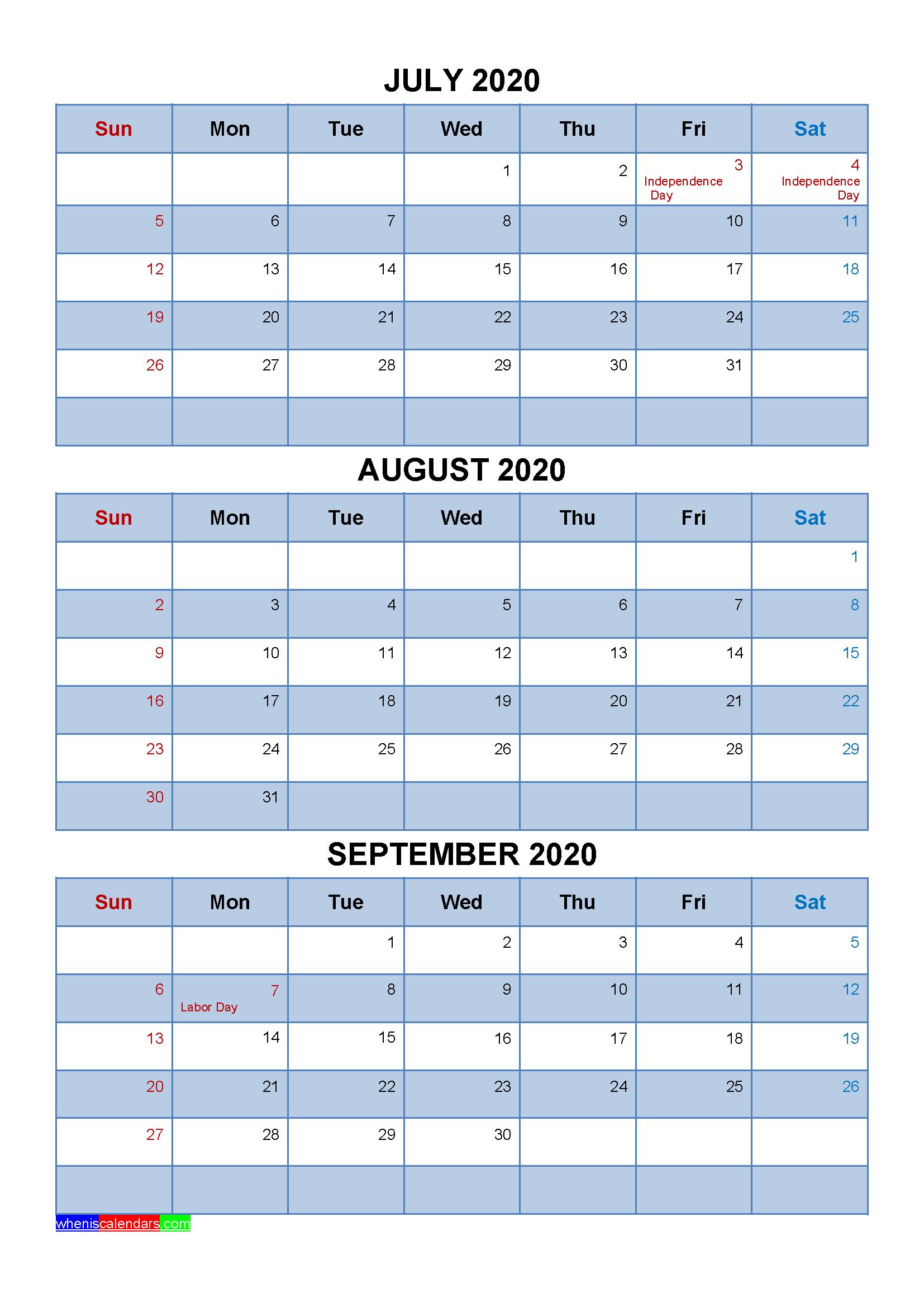 Free July August September 2020 Printable Calendar Template inside Quarterly Calendar Template