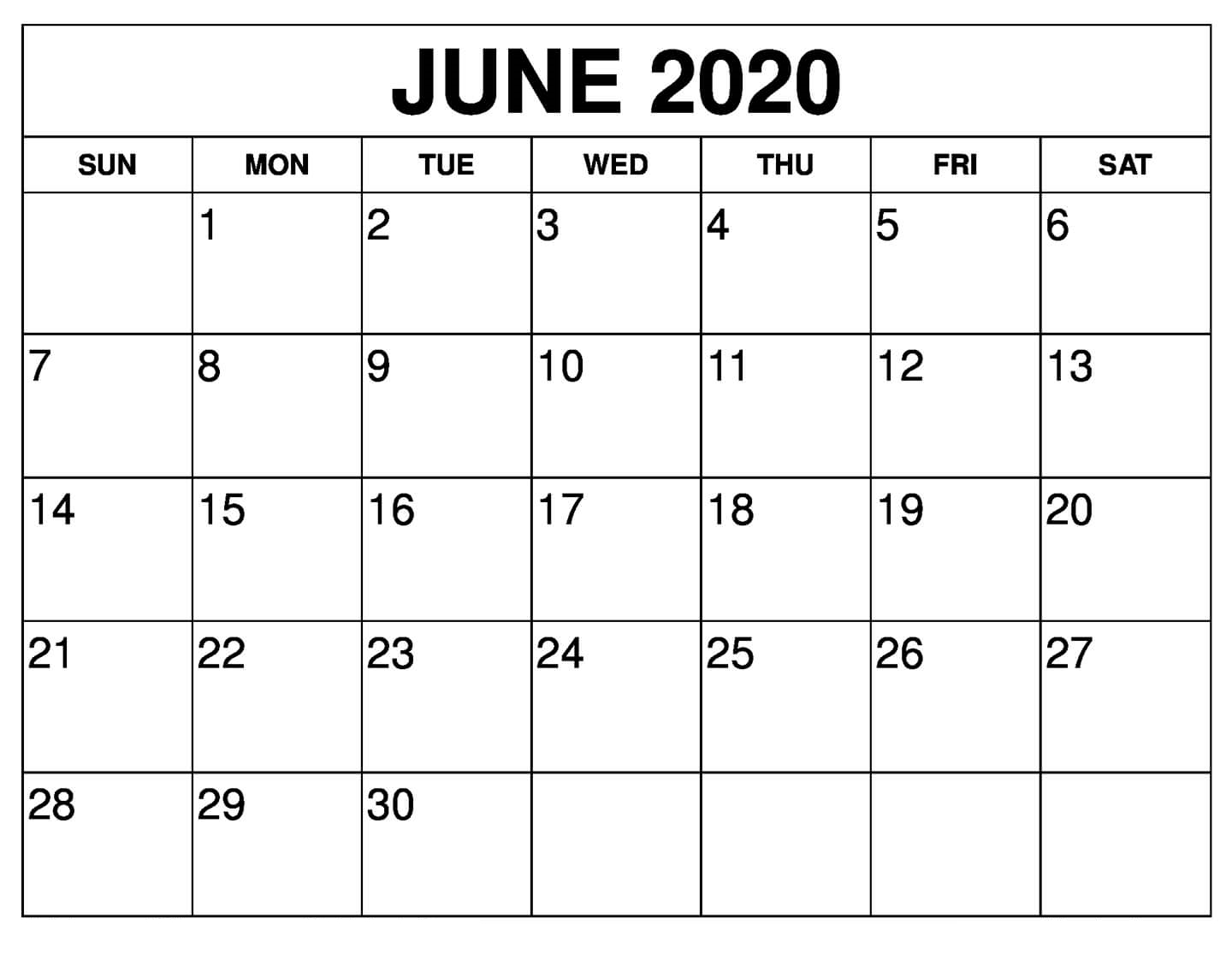 Free June 2020 Calendar Printable | 12 Month Printable Calendar intended for Printable June 2020 Calendar