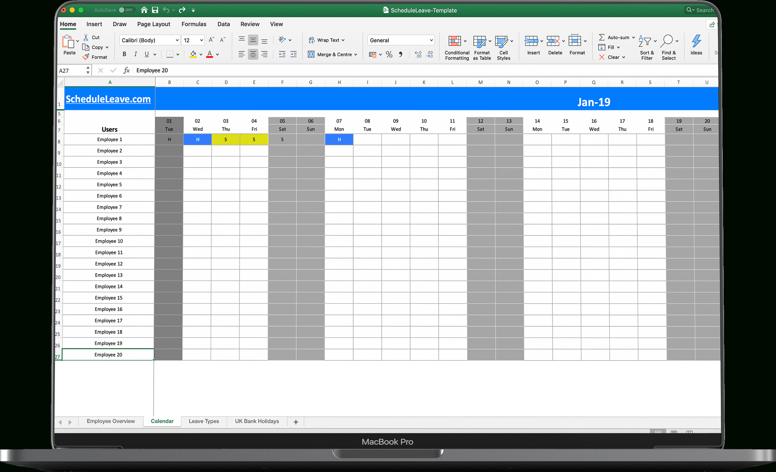 Free Leave & Holiday Tracker Spreadsheet 2020  Scheduleleave for Team Leave Calendar Excel