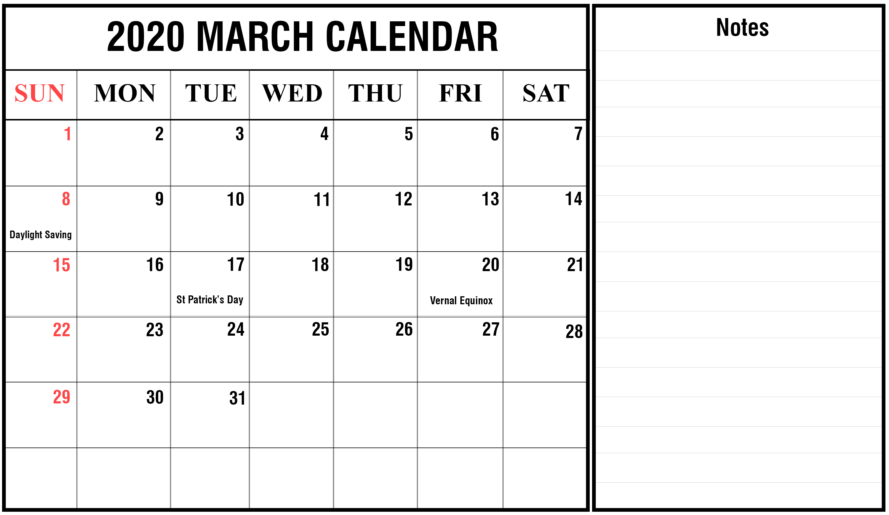 Free March 2020 Holidays Calendar Printable Template {Pdf} for Vacation Calendar Template