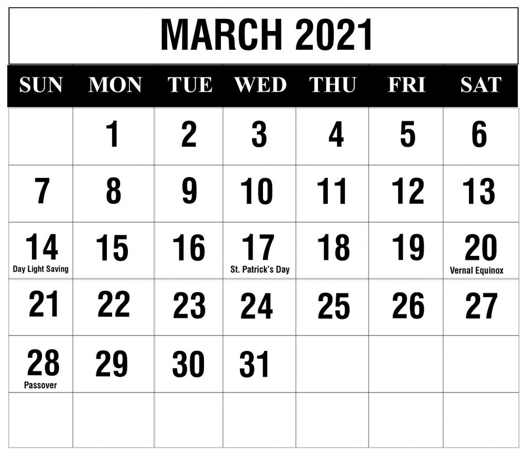 Free March 2021 Printable Calendar Template In Pdf, Excel with regard to Max 30 Calendar Pdf