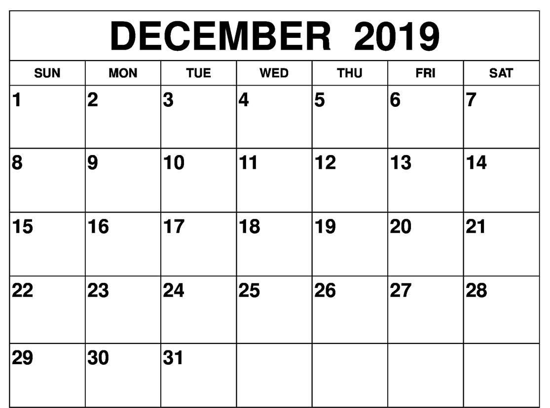 Free Monthly Blank December Calendar 2019 Printable Template with Writable December 2020 Calendar