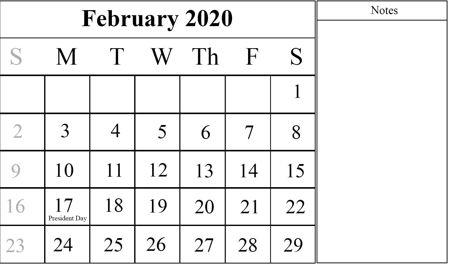 Free Monthly February Calendar 2020 Printable Template in Monthly Calendar With Time Slots 2020