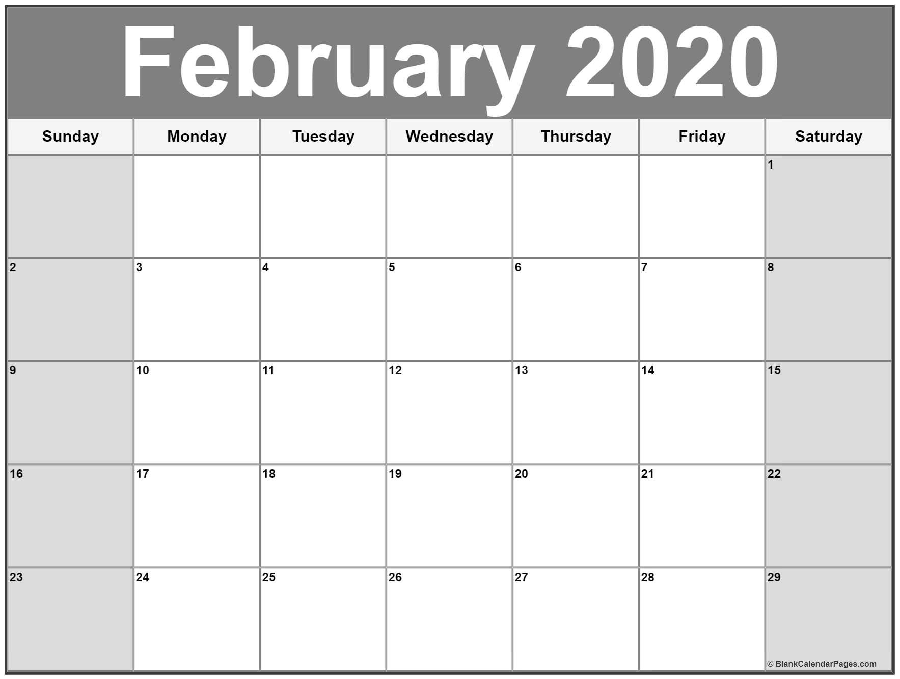 Free Monthly February Calendar 2020 Printable Template inside Monthly Calendar With Time Slots 2020