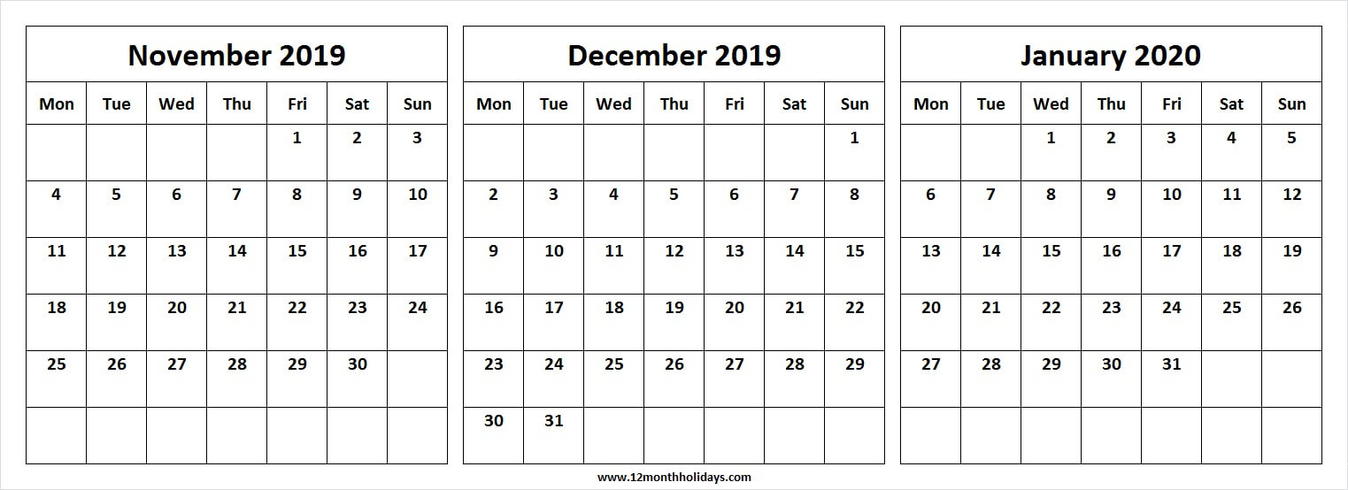 Free November December 2019 January 2020 Month Calendar throughout November December January Calendar