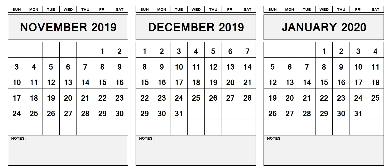 Free November December January 2020 Calendar Printable Pdf within November December January Calendar