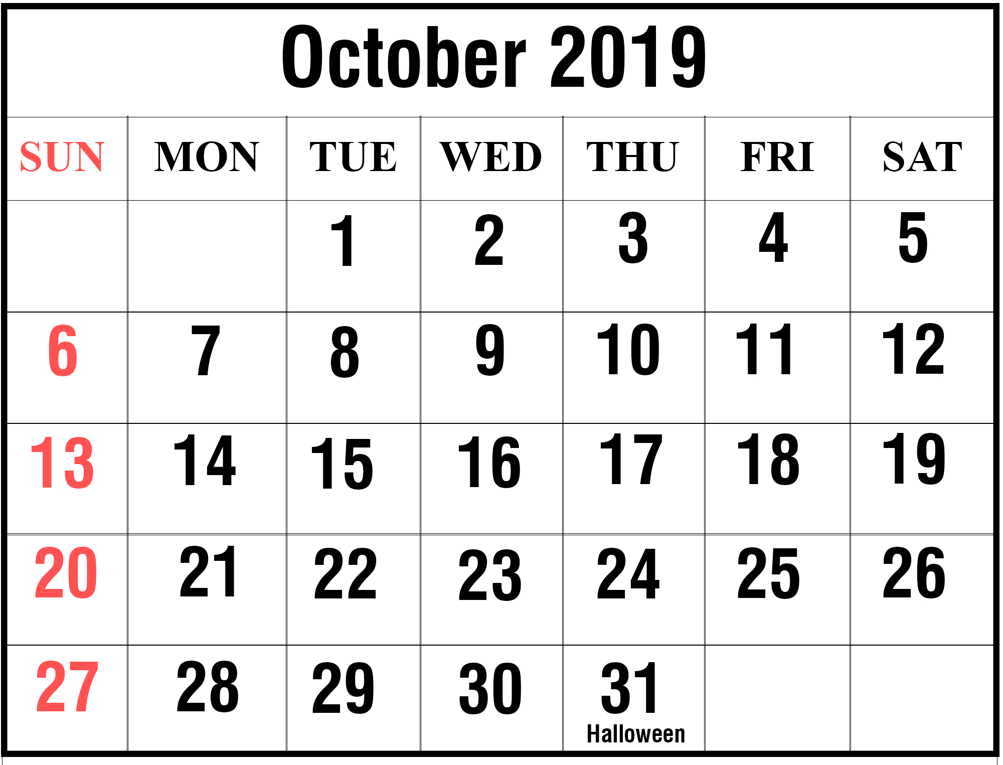 Free October 2019 Printable Calendar Blank Templates throughout Year Long Calendar Template