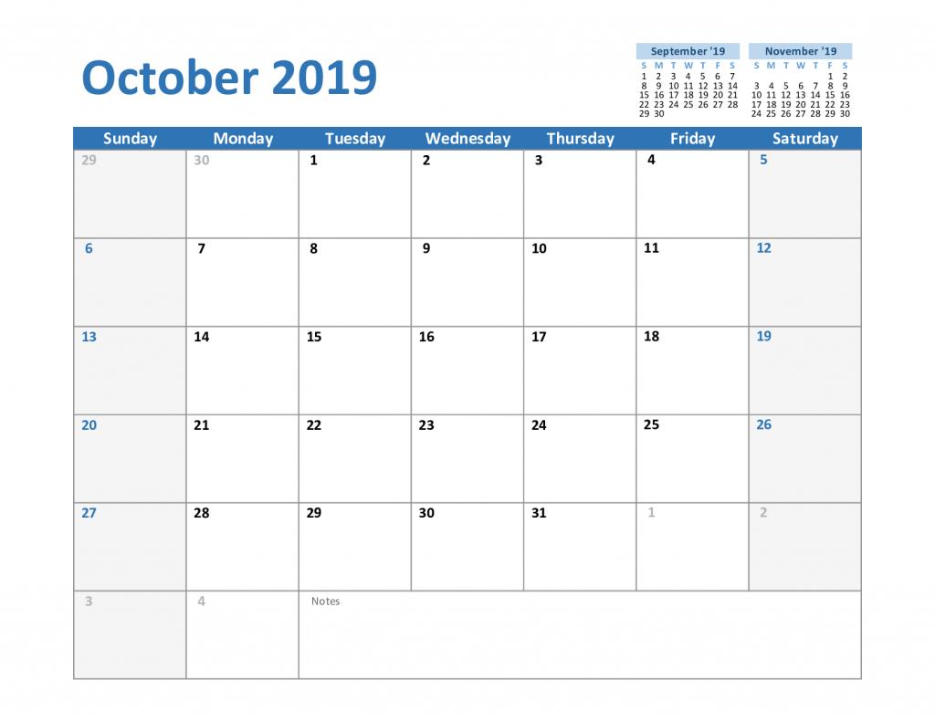 Free October 2019 Printable Calendar Template In Pdf, Excel inside Blank Calendar Template Word