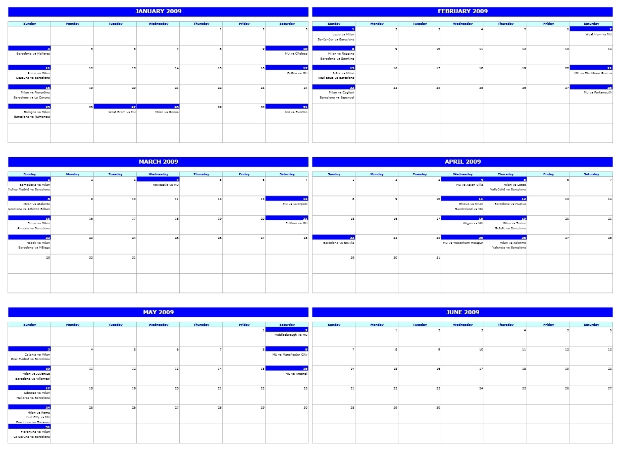 Free One Month Schedule Templates  Calendar Inspiration Design within Six Month Calendar Template