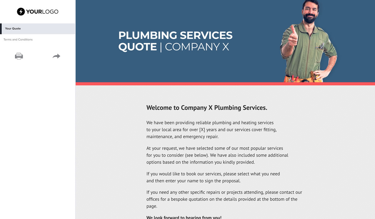 Free Plumbing Quote Template  Better Proposals regarding Plumbing Proposal Template Free