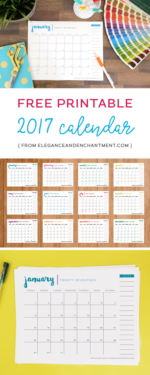 Free Printable 2017 Calendar  Elegance & Enchantment with regard to Elegance And Enchantment