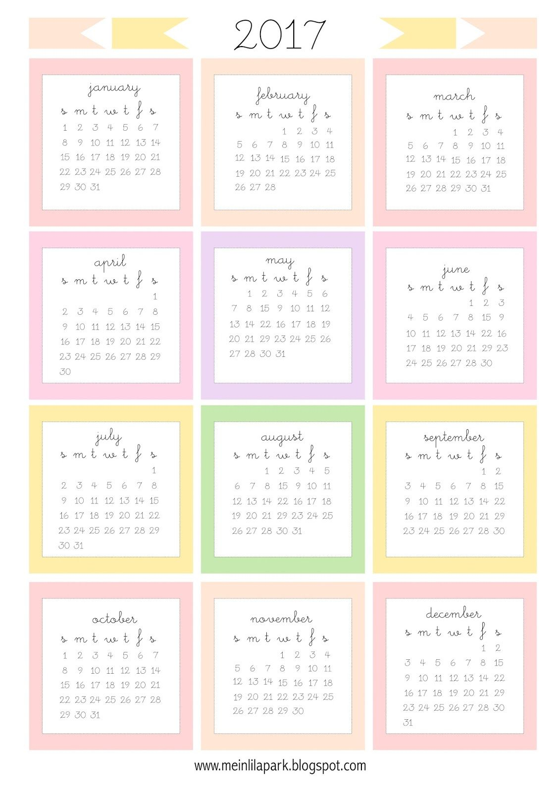 Free Printable 2017 Mini Calendar Cards  Bullet Journal intended for Mini Calendar Template