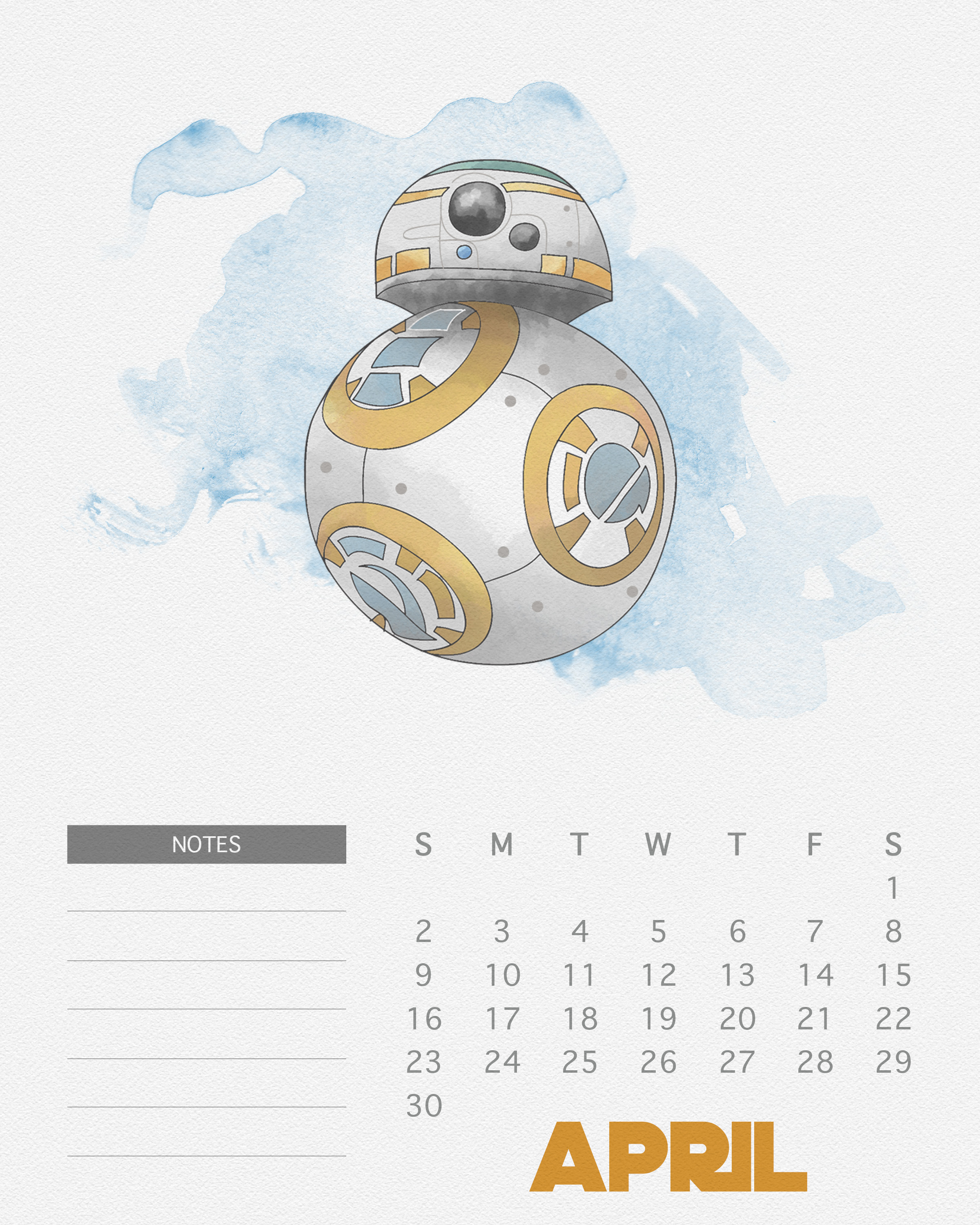 Free Printable 2017 Watercolor Star Wars Calendar  The throughout Star Wars Calendar Printable