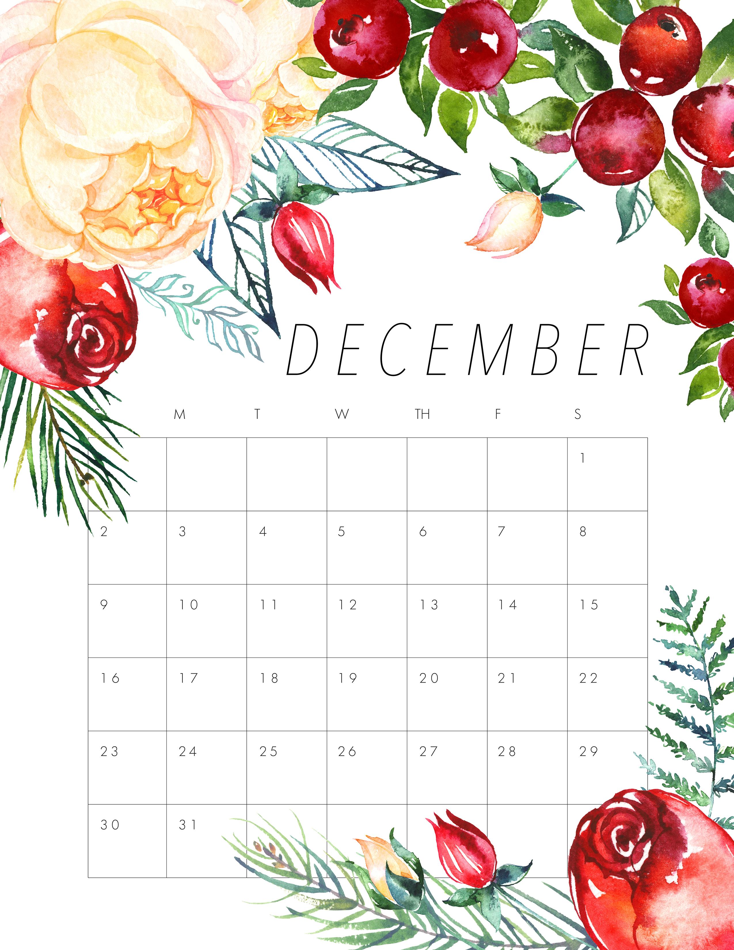 Free Printable 2018 Floral Calendar  The Cottage Market for November Decorated Calendar
