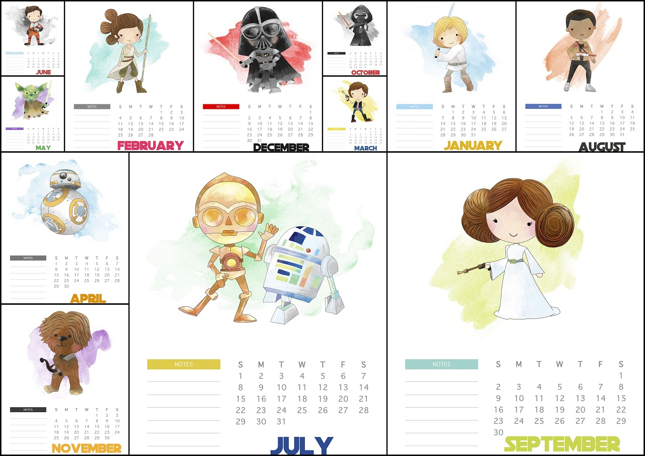 Free Printable 2018 Star Wars Calendar.  Oh My Fiesta! For for Star Wars Calendar Printable