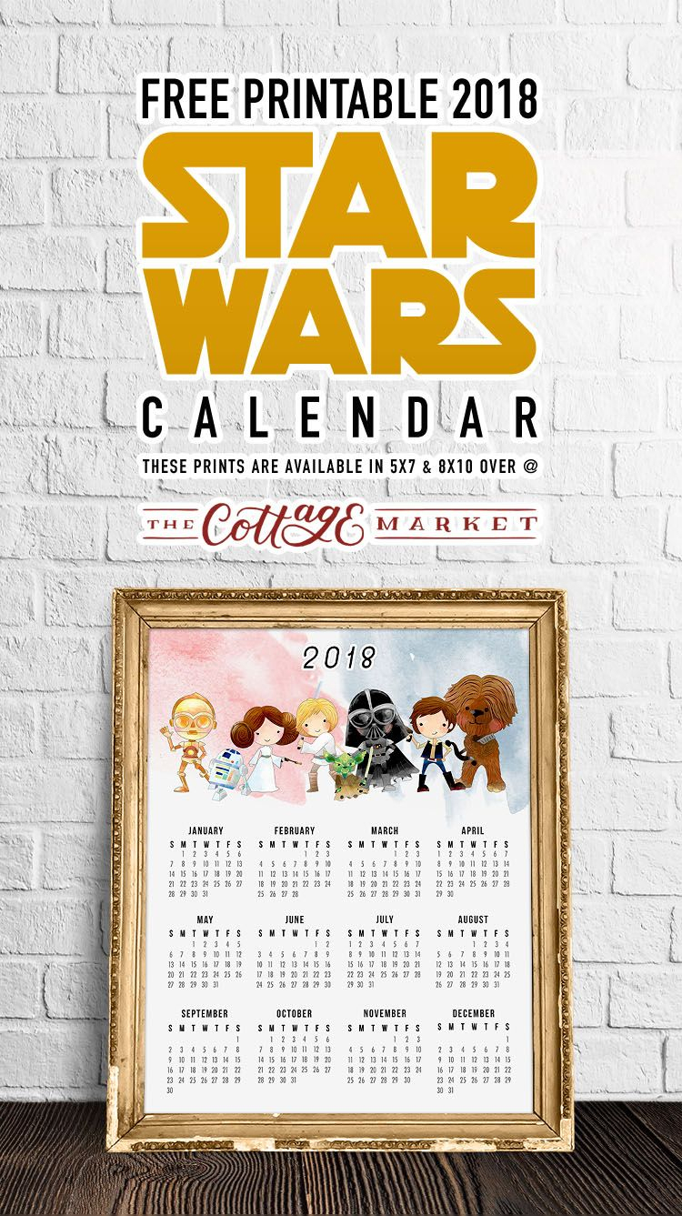 Free Printable 2018 Star Wars Calendar  One Page intended for Star Wars Calendar Printable
