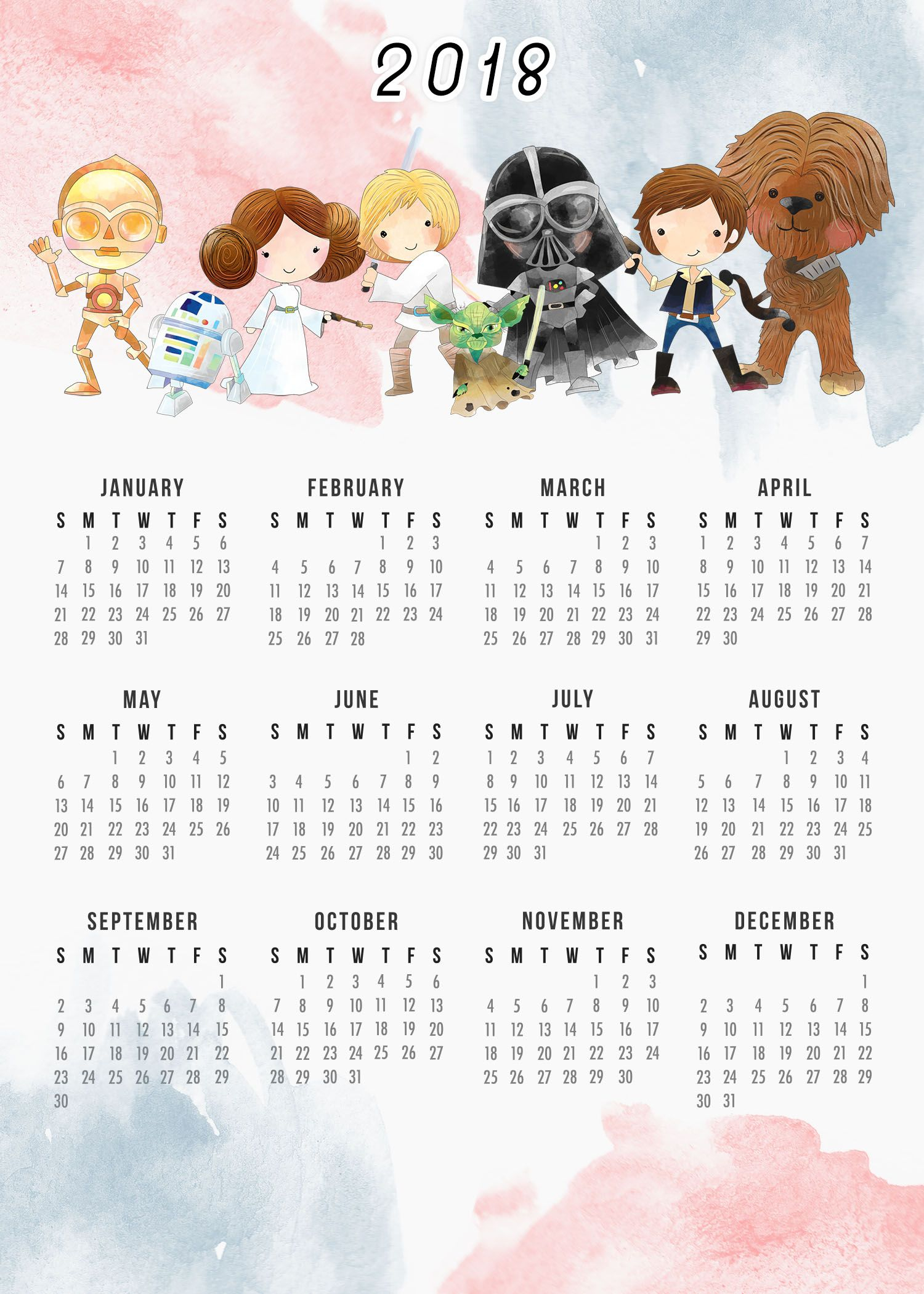Free Printable 2018 Star Wars Calendar  One Page pertaining to Star Wars Calendar Printable