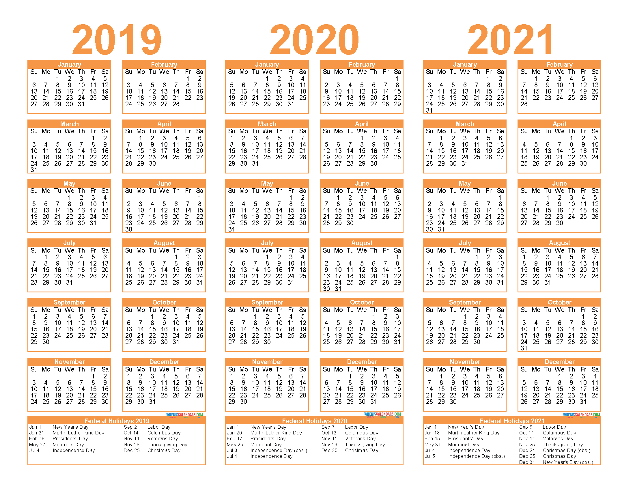Free Printable 2019 2020 2021 Calendar With Holidays | Free in 3 Year Calendar 2020 To 2021 Printable