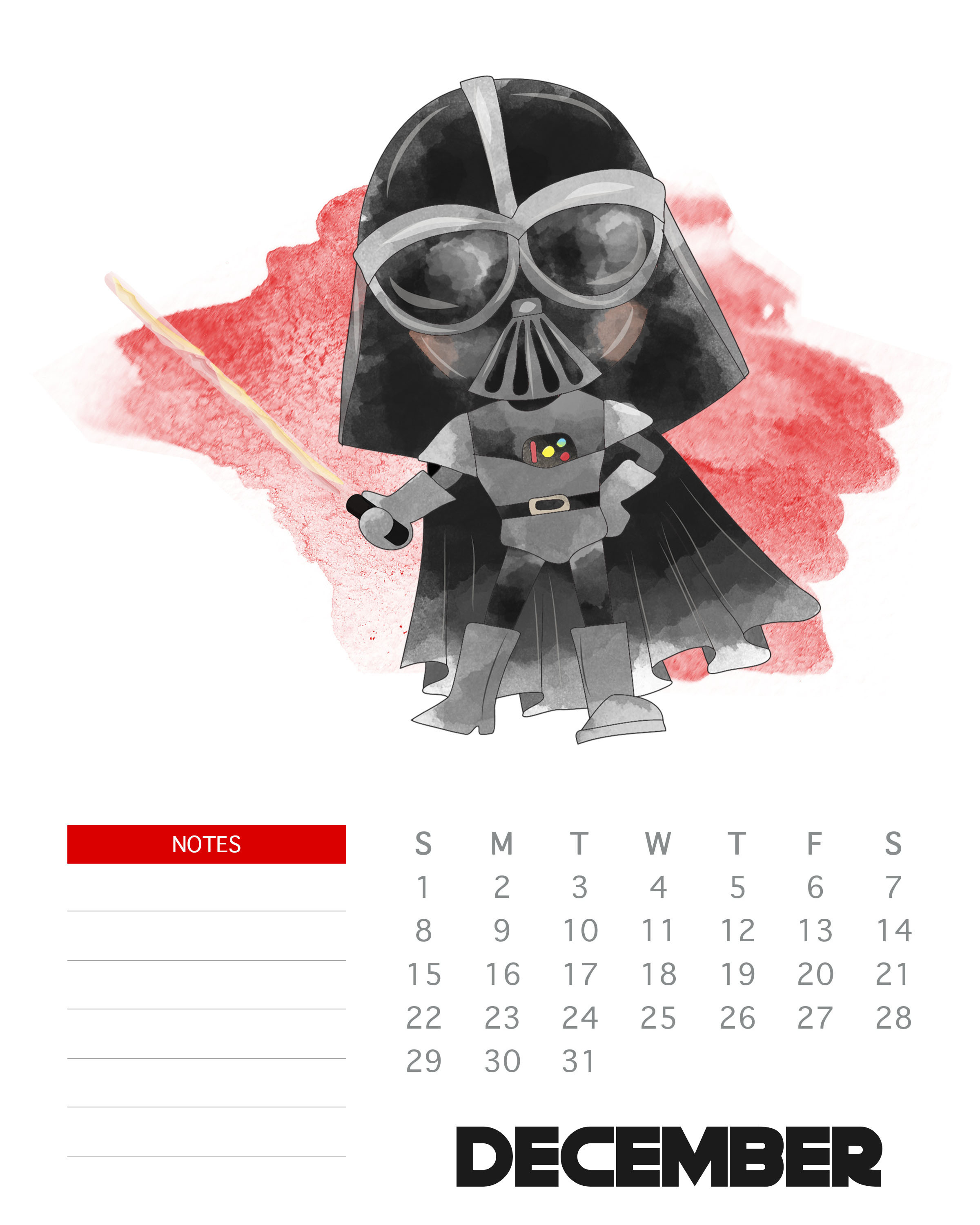 Free Printable 2019 Star Wars Calendar  The Cottage Market with Star Wars Calendar Printable