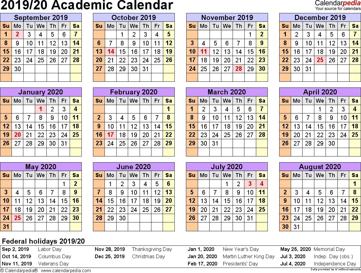 Free Printable 20192020 Academic Calendar  Calendar within Uga 2020 Calendar