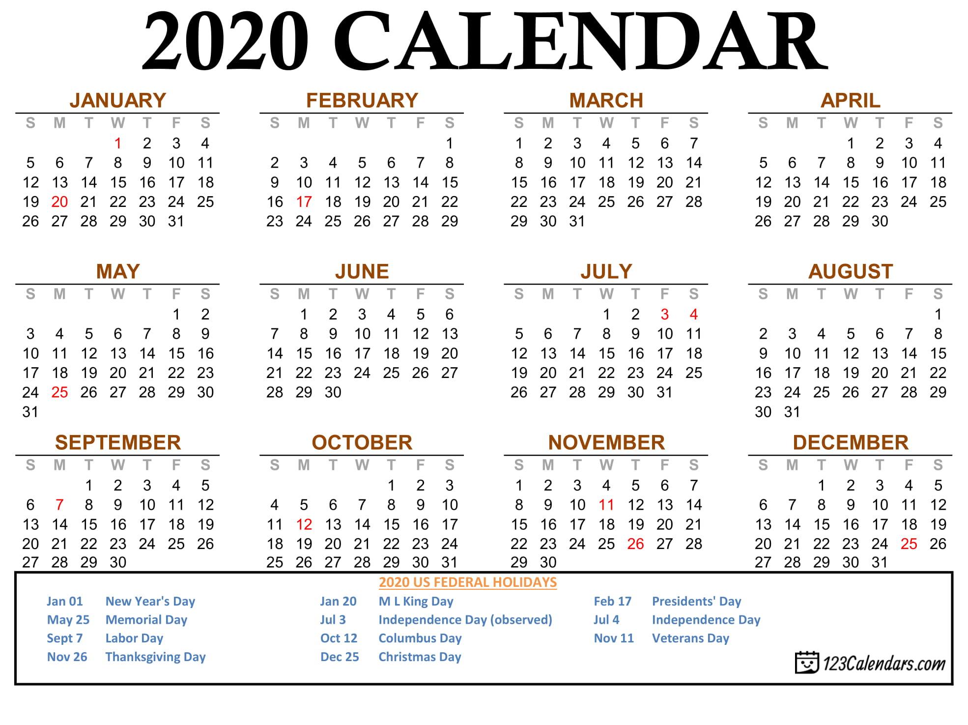 Free Printable 2020 Calendar | 123Calendars in Pocket Size Calendar Printable