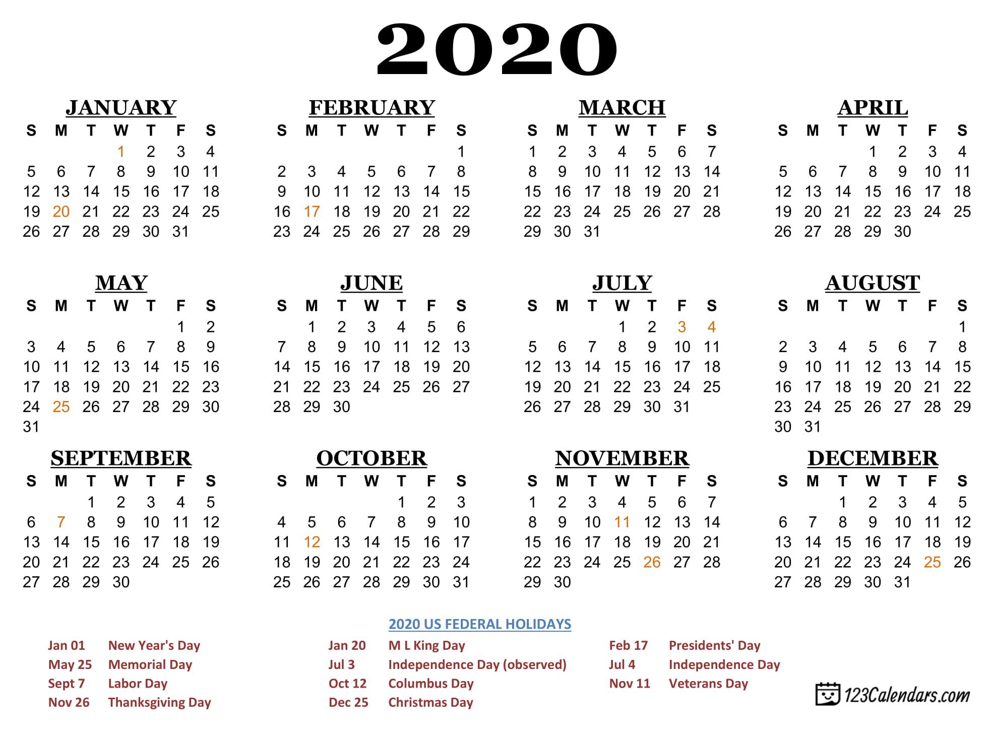 Free Printable 2020 Calendar | 123Calendars pertaining to Printable 2020 Wallet Calendar