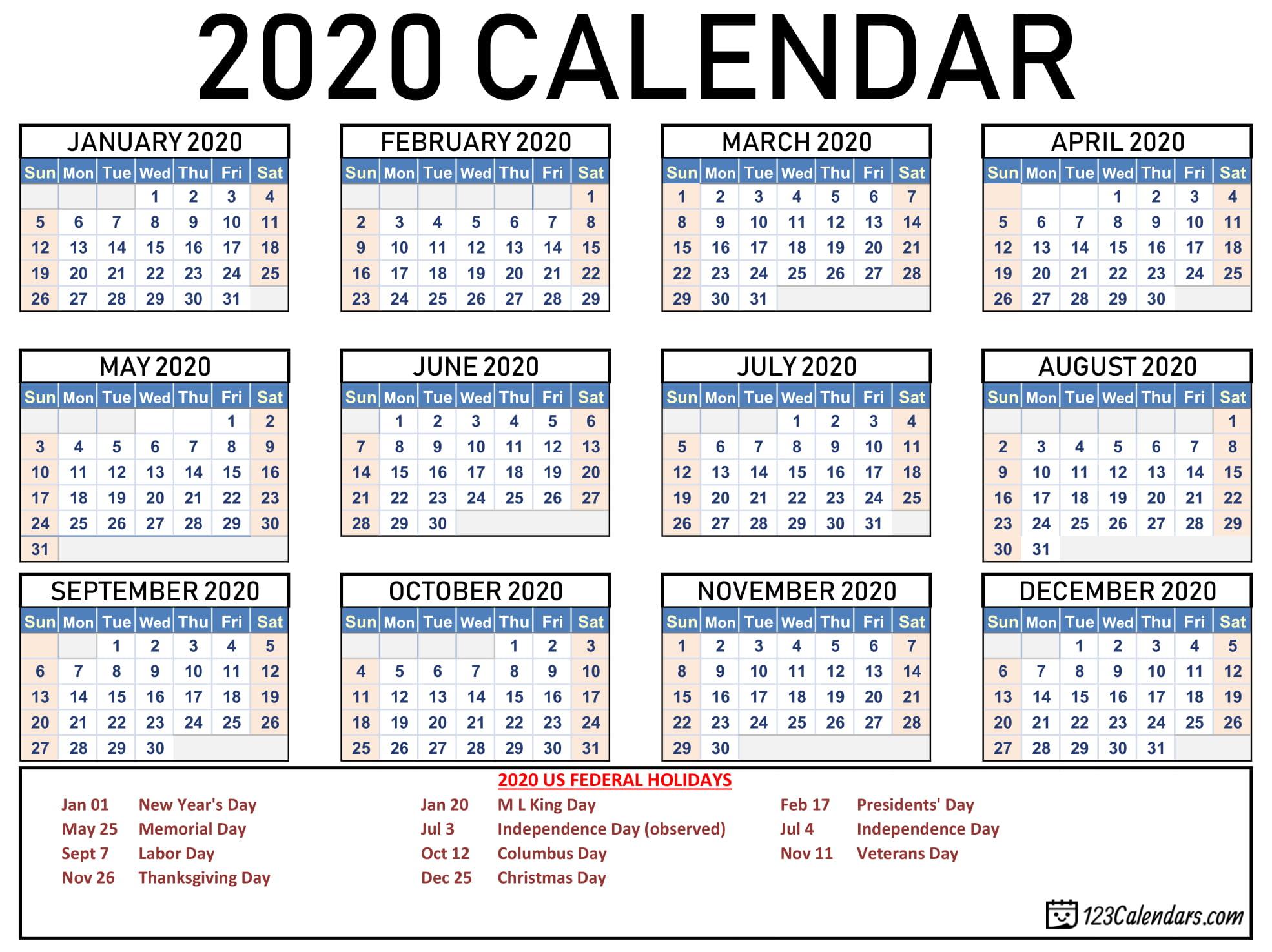 Free Printable 2020 Calendar | 123Calendars throughout Pocket Size Calendar Printable