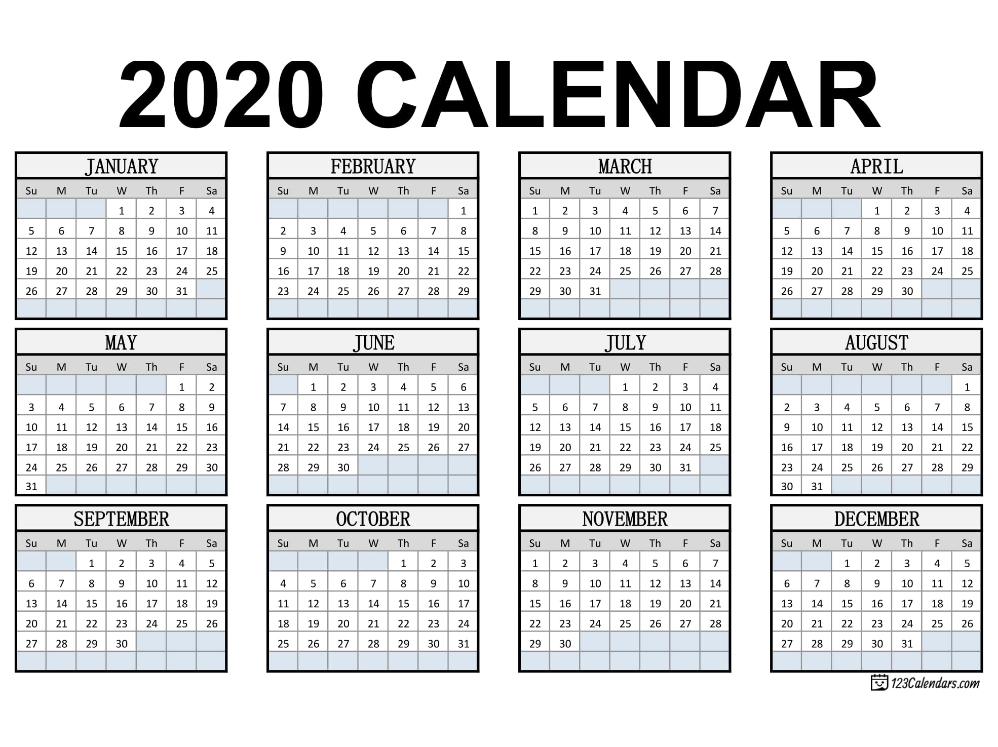 Free Printable 2020 Calendar | 123Calendars with Free Printable Pocket Calendar