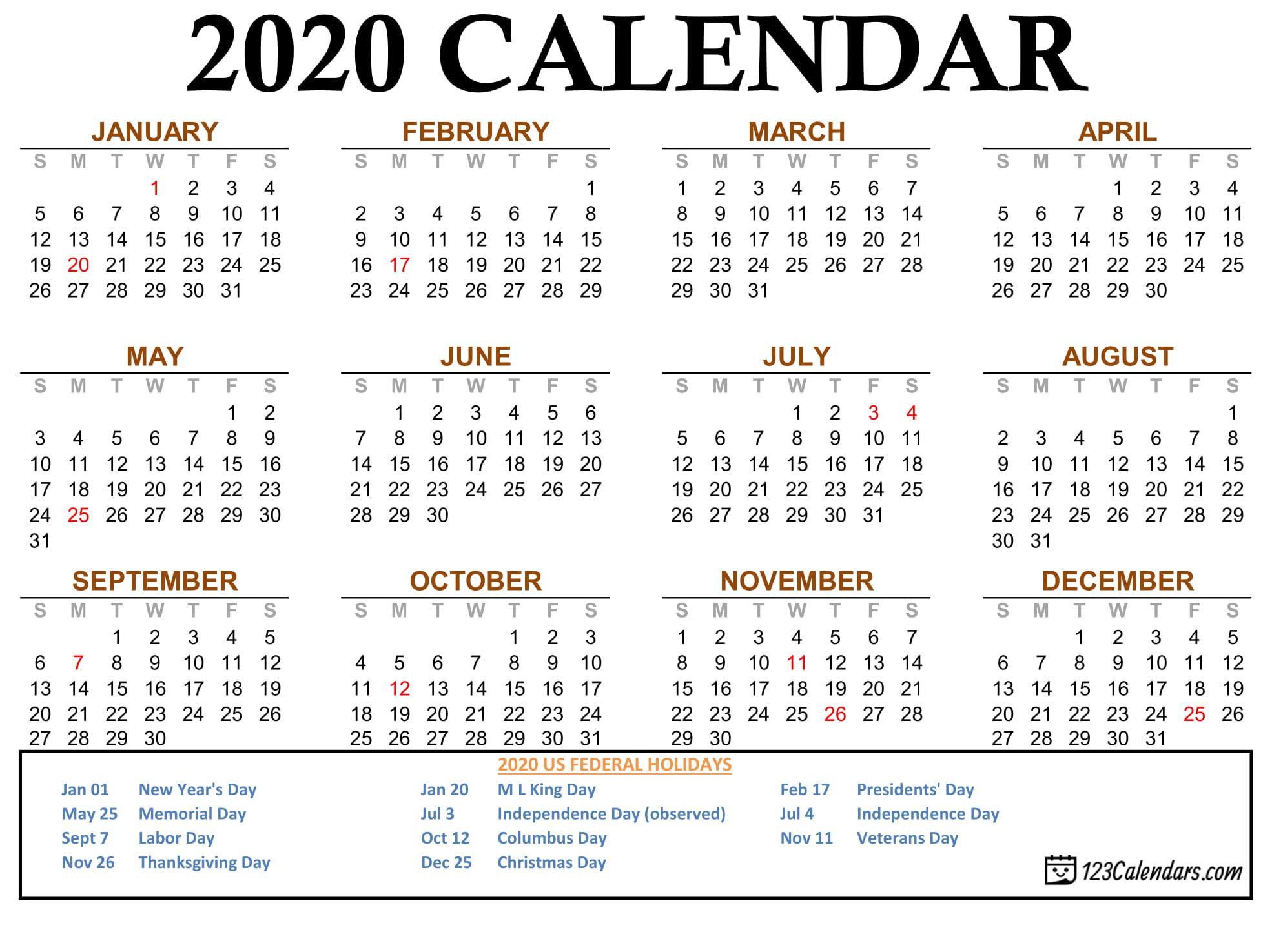 Free Printable 2020 Calendar | 123Calendars within 123 Calendars January 2020