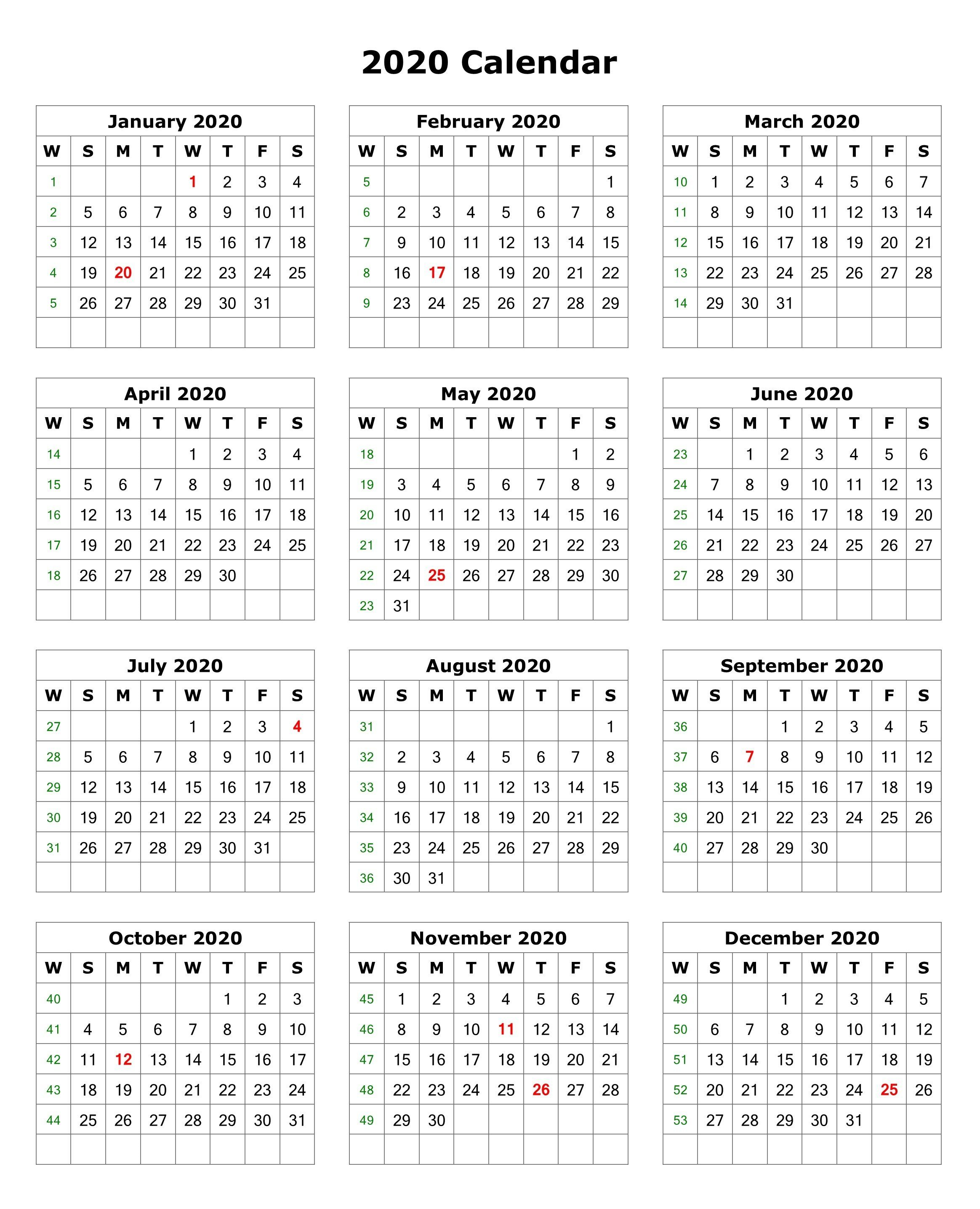Free Printable 2020 Calendar – One Page Template | 12 Month pertaining to Calendar Excel Template 2020