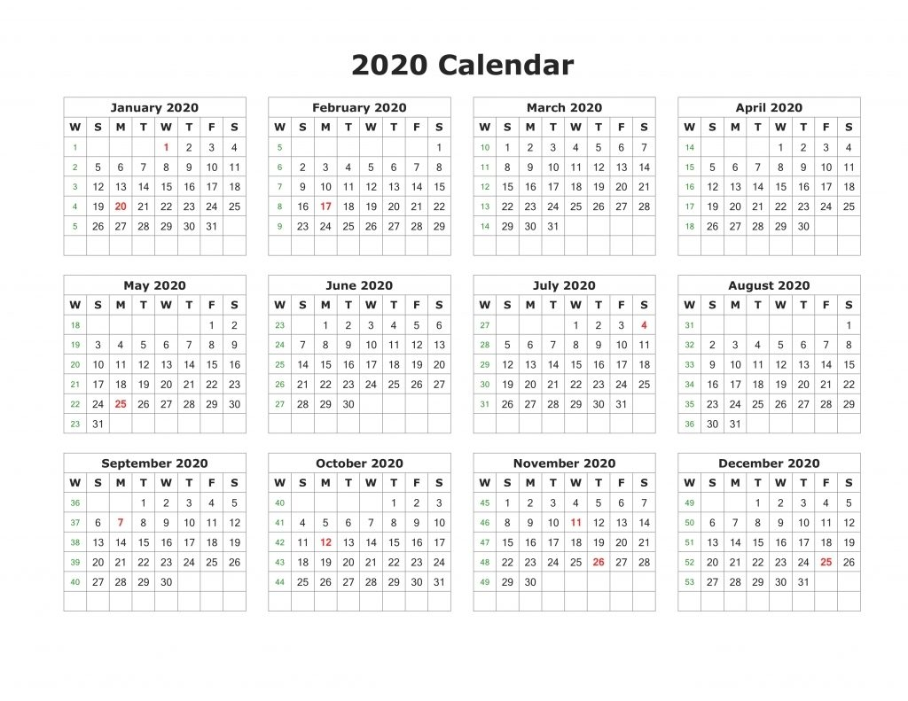 Free Printable 2020 Calendar – One Page Template in Free Printable 2020 Employee Attendance Calendar