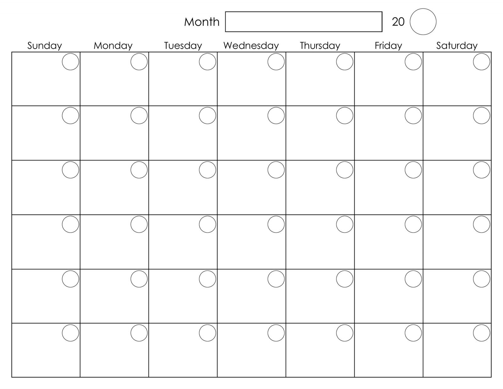 Free Printable 2020 Calendar Template Pdf, Word, Excel, Page regarding Blank One Month Calendar