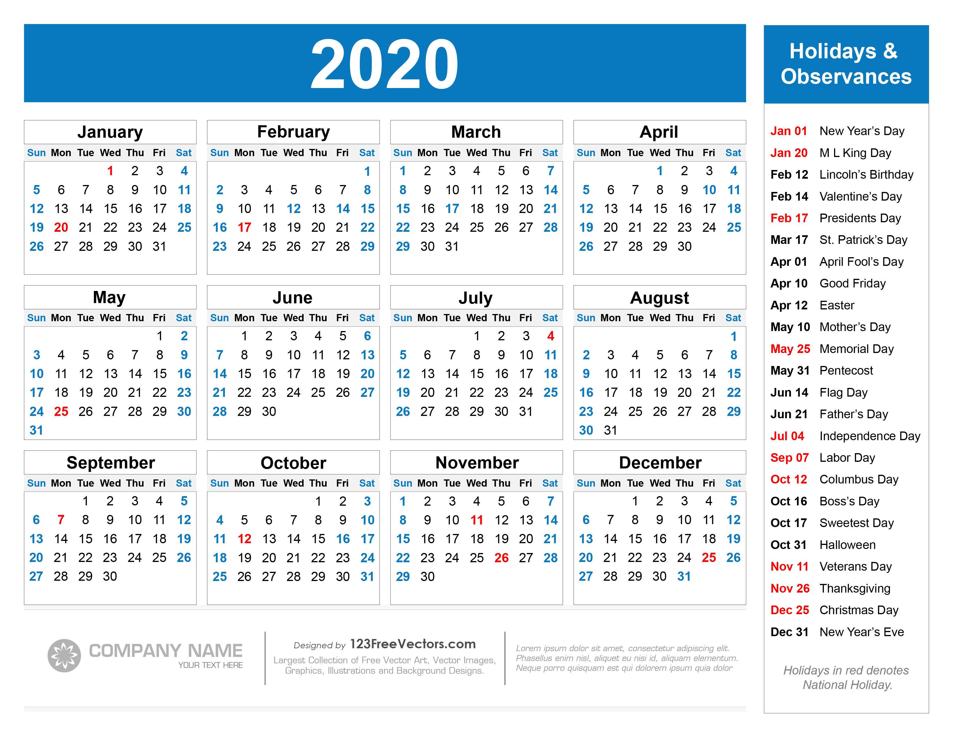 Free Printable 2020 Calendar With Holidays pertaining to Printable 2020 Calander
