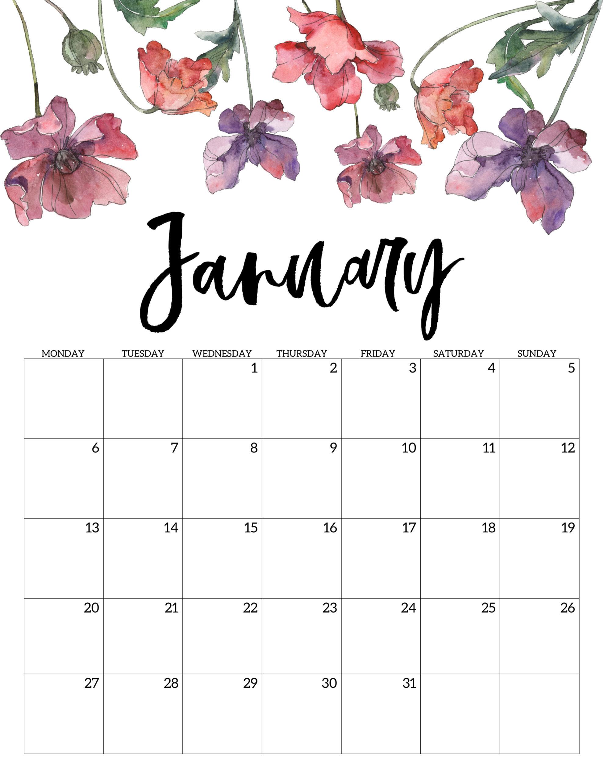 Free Printable 2020 Monday Start Calendar {Floral}  Paper in January 2020 Calendar Starting Monday