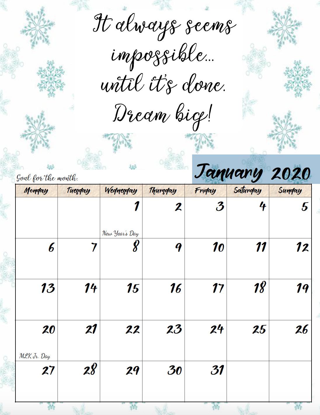 Free Printable 2020 Monday Start Monthly Motivational Calendar throughout Printable 2020 Calendar Starting Monday