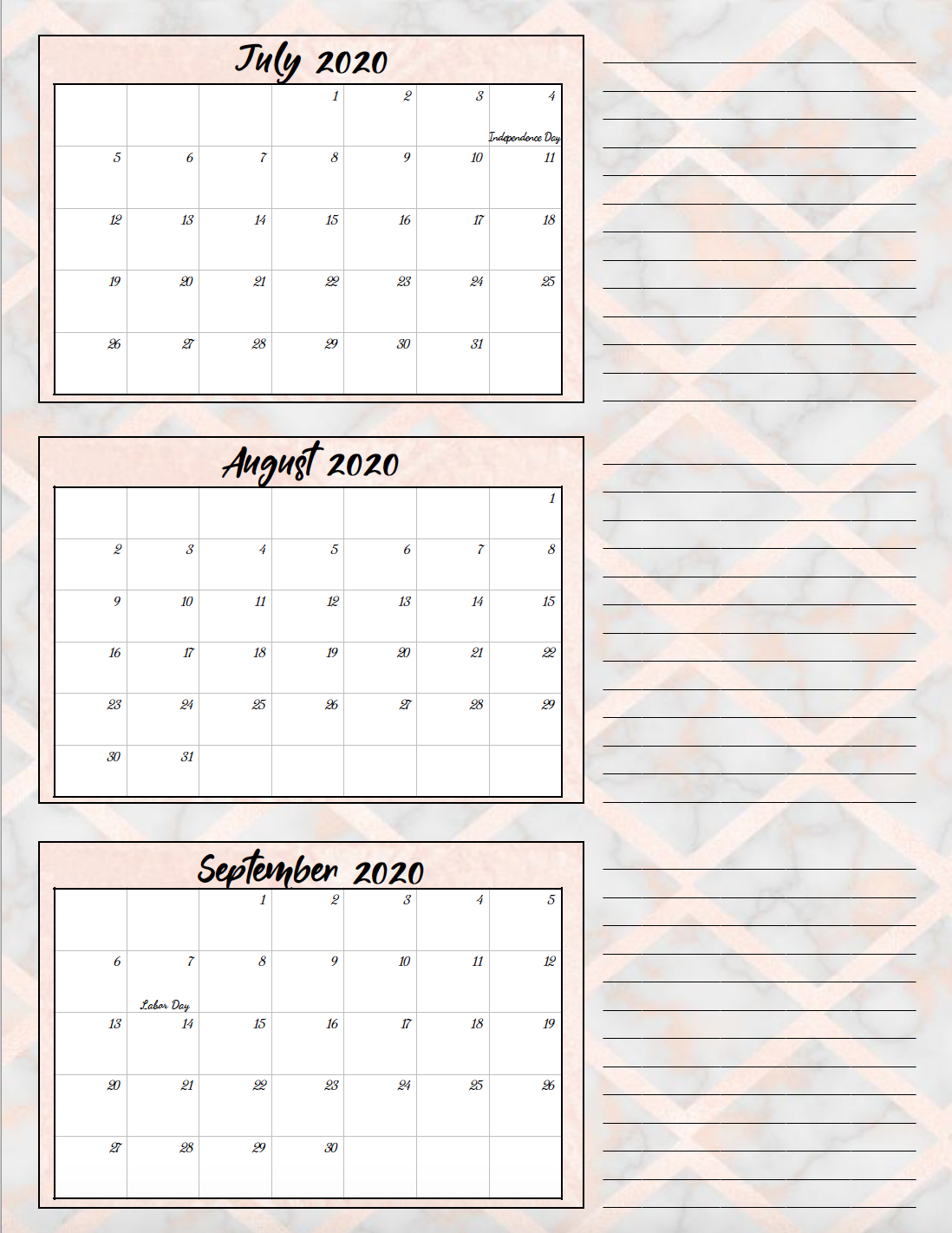 Free Printable 2020 Quarterly Calendars With Holidays: 3 with 2020 Quarterly Calendar Template Excel