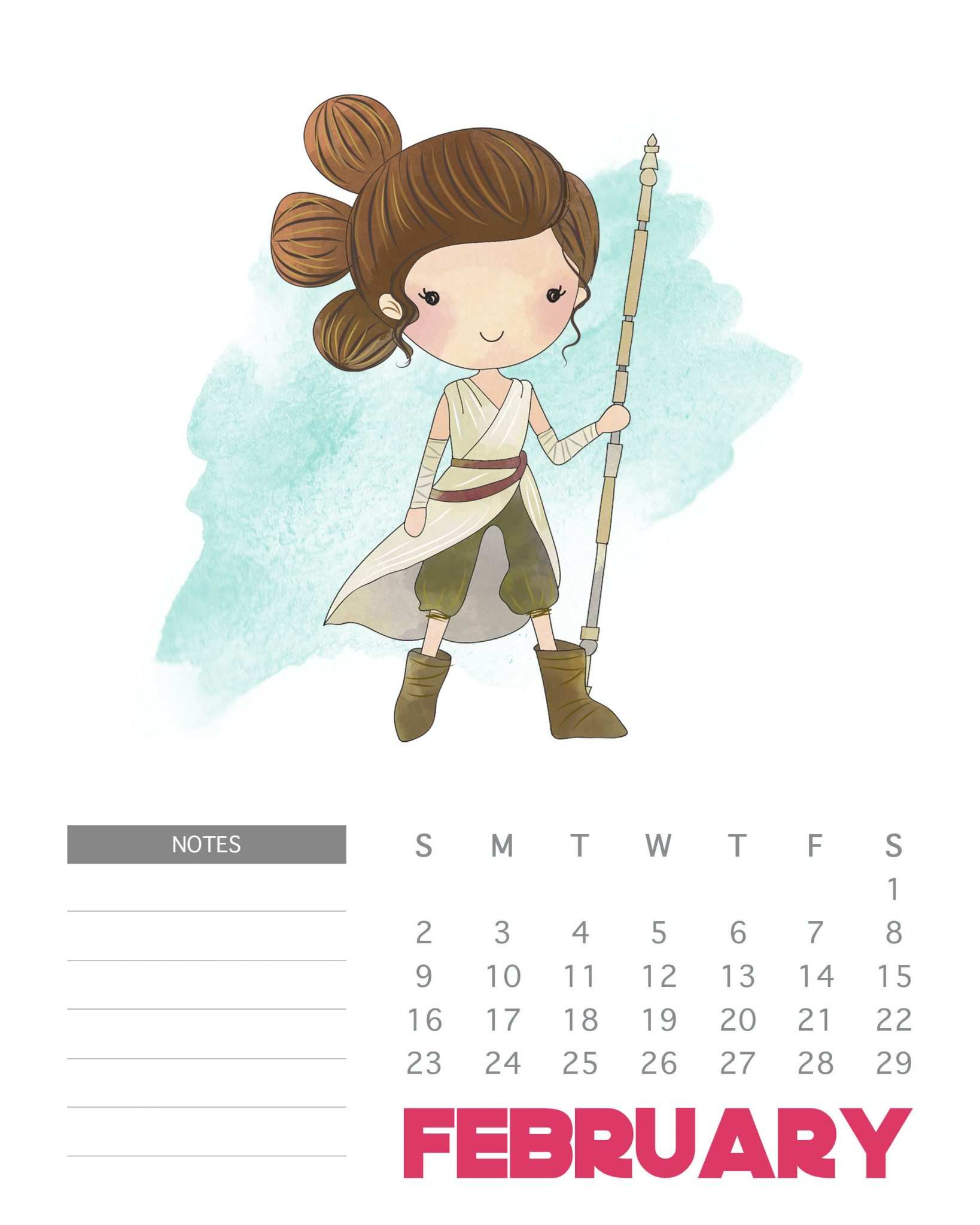 Free Printable 2020 Star Wars Calendar  The Cottage Market within Star Wars Calendar Printable