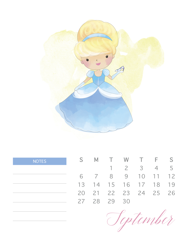 Free Printable 2020 Watercolor Princess Calendar  The throughout Printable Disney Calendar 2020