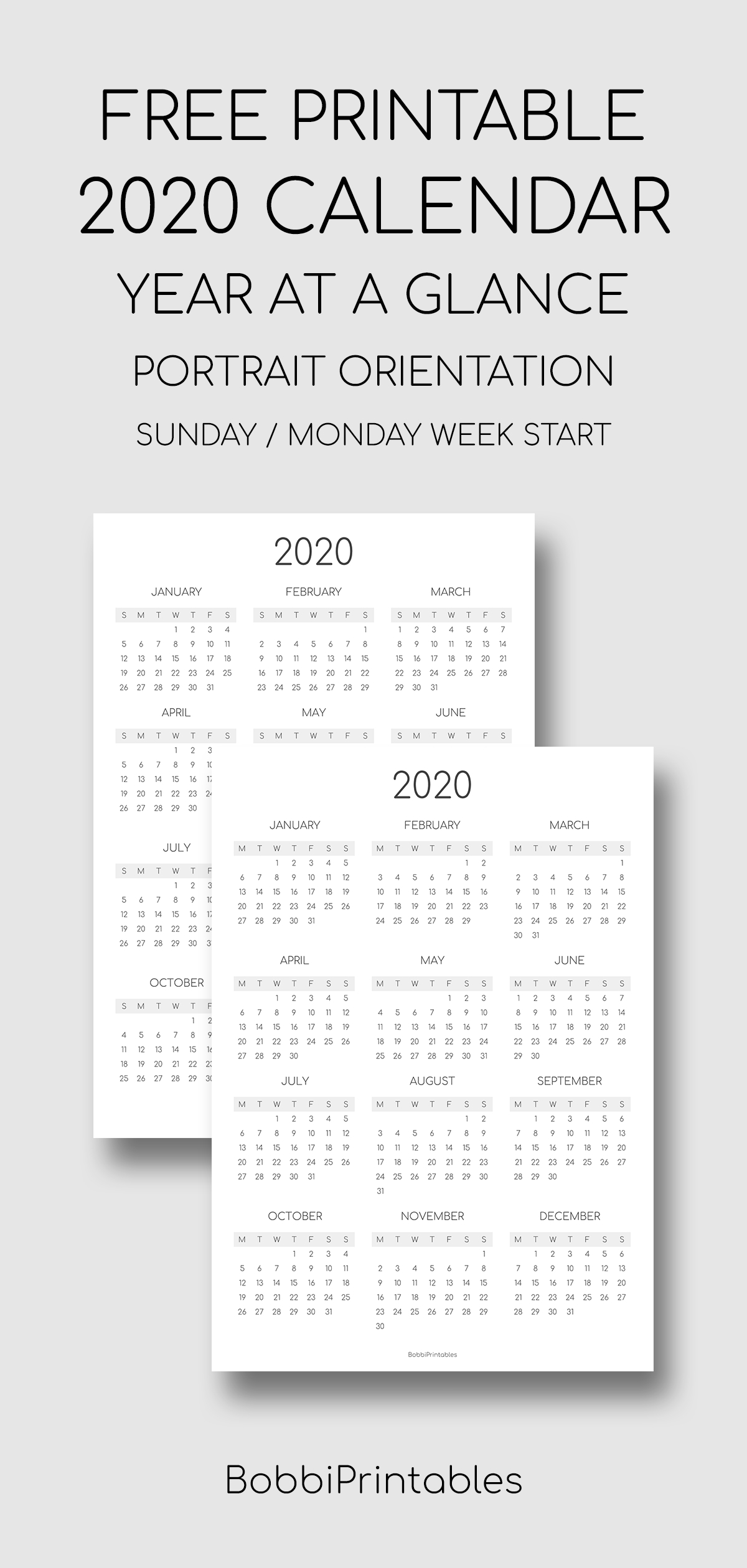 Free Printable 2020 Year At A Glance Calendar  Portrait for 2020 Year At A Glance Printable